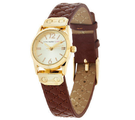Isaac Mizrahi Live! Mini Round Quilted Strap Watch