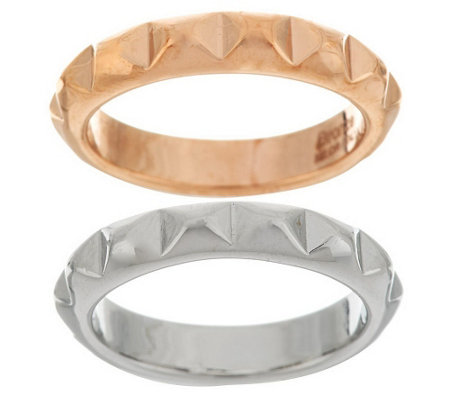 """As Is"" Bronzo Italia Polished Set of 2 Pyramid Design Stack Ring"