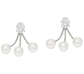 Stainless Steel Crystal & Simulated Pearl Earring Jackets - J324200