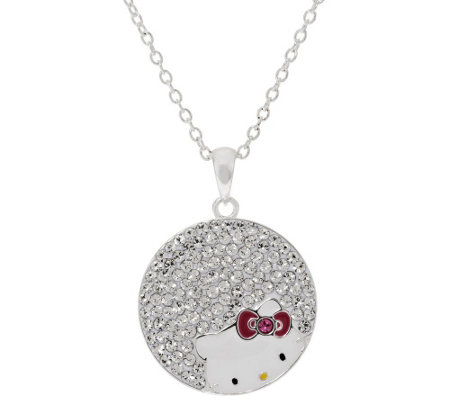 """As Is"" Hello Kitty Crystal Pave Circle Pendant with 18' Chain"