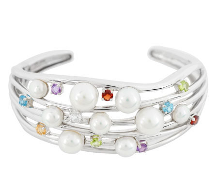 """As Is"" Honora Cultured Pearl 2.20 ct tw Multi-Gemstone Large Cuff"