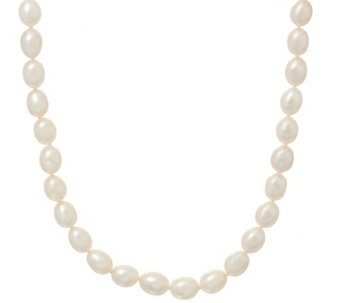 "Honora Cultured Pearl 8.0mm White Oval 20"" Sterling Necklace - J329500"