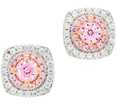 Diamonique 100-Facet Pink Halo Stud Earrings, Sterling