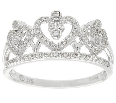 Crown Design Diamond Ring, Sterling, 1/5 cttw, by Affinity