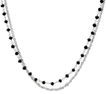 "Luv Tia Black Spinel & Chain Double Strand 18"" Necklace - J330200"