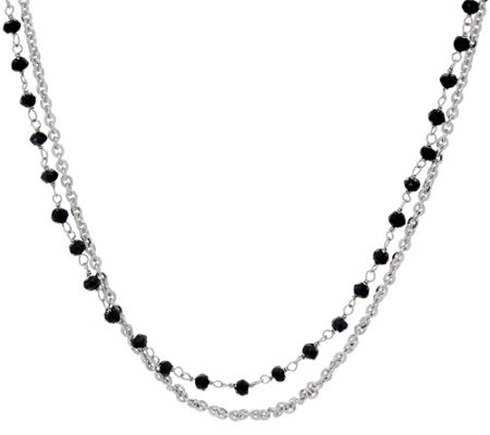"Luv Tia Black Spinel & Chain Double Strand 18"" Necklace"