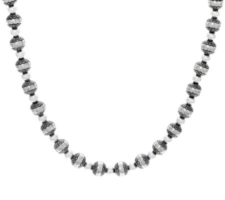 "Sterling Silver Stamped Bead 21"" Necklace by American West"