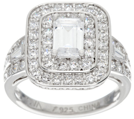 TOVA Diamonique Emerald Cut Ring, Sterling