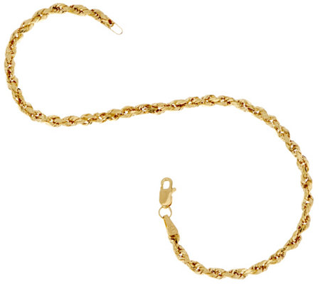 """As Is"" 14K 7-1/4"" Diamond Cut Rope Chain Bracelet"