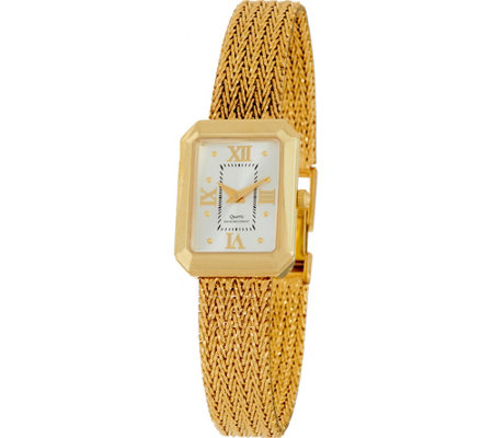 Vicence Large Rectangle Case Bracelet Watch 14K Gold, 39.5g