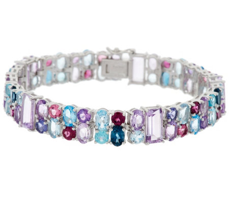 """As Is"" 30.00 ct tw Multi-gemstone 7-1/2"" Sterling Tennis Bracelet"
