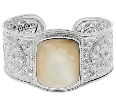 """As Is"" Artisan Crafted Sterling Bold Mother-of-Pearl Cuff"