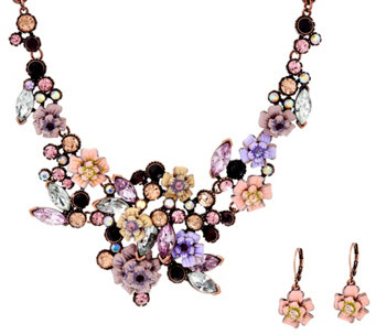 """As Is"" Joan Rivers Language of Flowers Rose Necklace and Earrings Set - J333300"