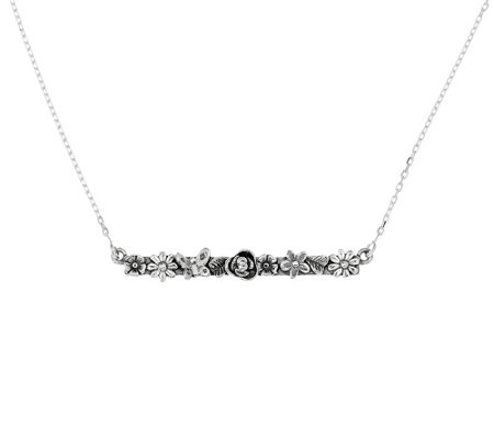 """As Is"" Sterling Silver Garden Design Bar Necklace by Or Paz"
