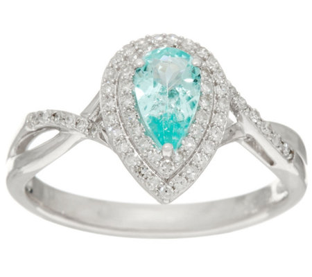 Pear Shaped Paraiba Tourmaline & Diamond Ring 14K, 0.35 ct