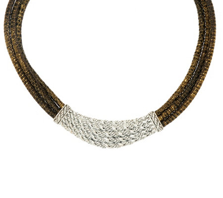 """As Is"" JAI Sterling & Leather Layered Bold Hill Tribe Necklace"