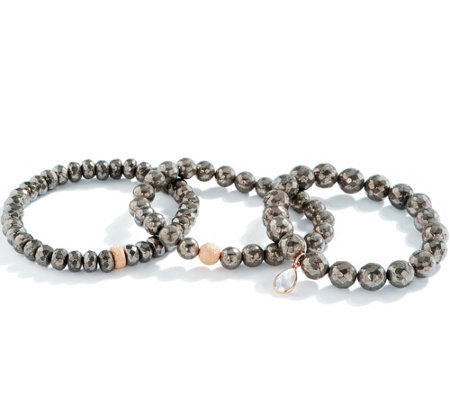 Dee Berkley Set of Three Pyrite Bracelets