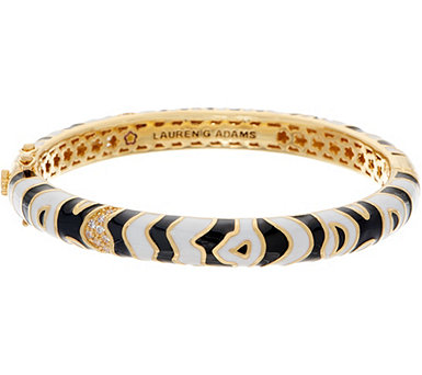 Lauren G Adams Enamel Zebra Motif Hinged Bangle - J354100