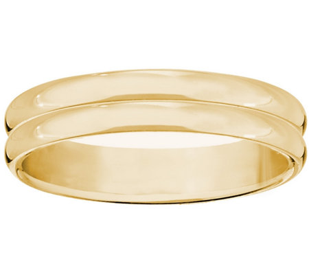 Women's 14K Yellow Gold 4mm Double Ribbed Wedding Band