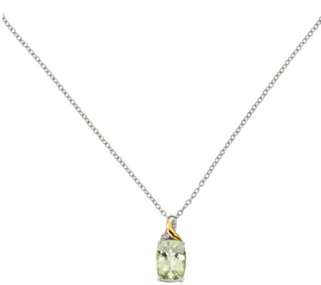 "Sterling & 14K Green Quartz & Diamond Pendant w/18"" Chain"