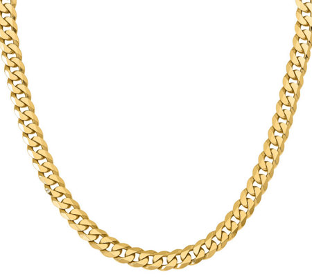 "14K Gold Flat Beveled 20"" Curb Necklace, 82.1g"