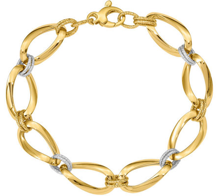 14K Two-Tone Oblong and Round Link Bracelet, 5.9g