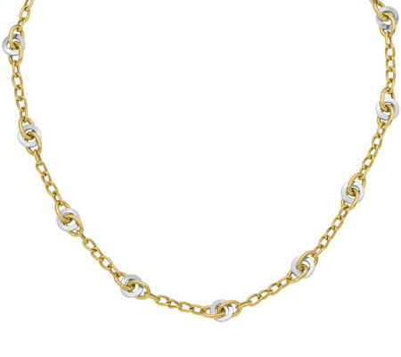 14K Gold Two-Tone Knot Link Necklace, 9.8g