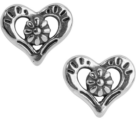 American West Sterling Heart and Flower Earrings