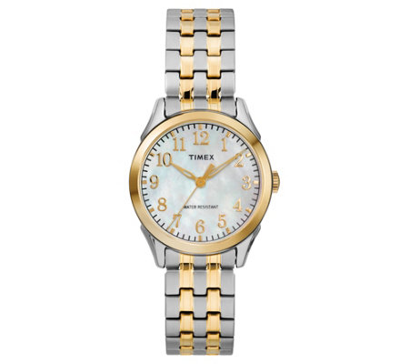 Timex Ladies Mother-of-Pearl Two-Tone Analog Watch