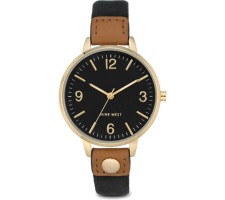 Nine West Ladies Orianah Black Canvas Strap Watch