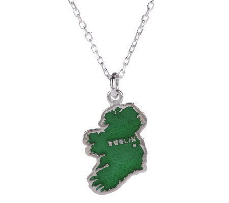 JMH Jewellery Sterling Silver Map of Ireland Pendant w/ Green Enamel