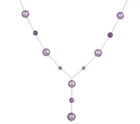 "Honora Sterling Cultured Pearl and Gemstone 18"" Station Y-Necklace"