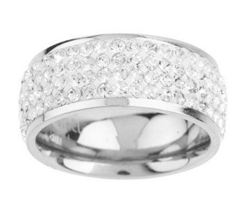Stainless Steel Silk Fit Crystal Eternity Band Ring - J158901