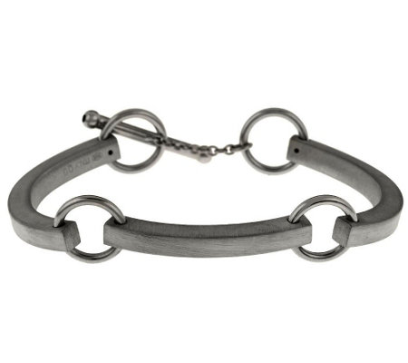 Italian Silver Sterling Satin Finish Status Station Bracelet