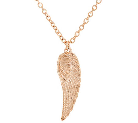 """As Is"" VicenzaSilver Sterling Angel Wing Pendant w/ 18"" Chain"
