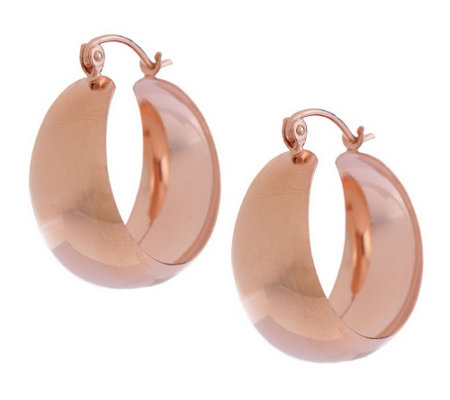 """As Is"" Bold Polished Wide Huggie Hoop Earrings, 14K"