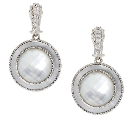 Judith Ripka Sterling White Mother-of-Pearl Doublet Earrings