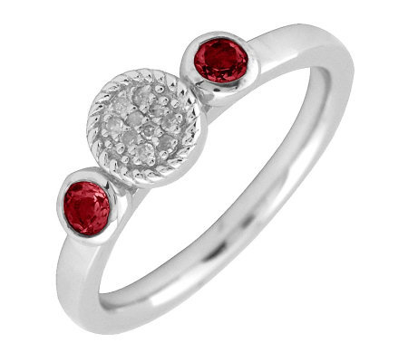 Simply Stacks Sterling Double Round Garnet Diamond Ring