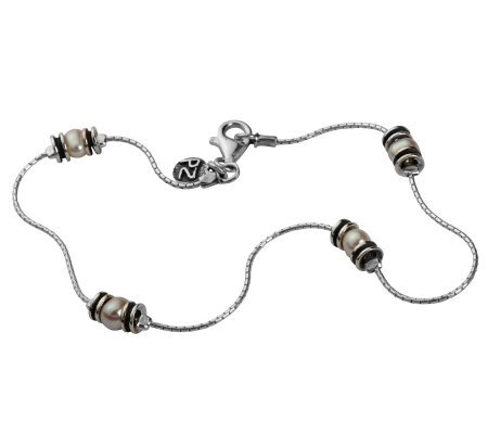 Or Paz Sterling Cultured Freshwater Pearl AnkleBracelet