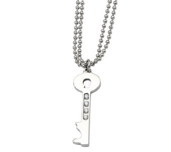 "Stainless Steel Polished Key Pendant w/ 24"" Chain - J302501"