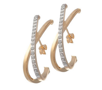 Diamond Fascination Crossover Hoop Earrings, 14K Gold - J304501