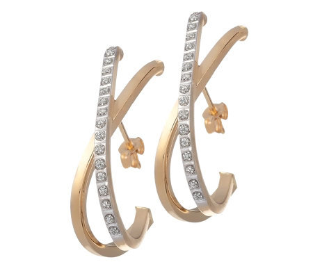 Diamond Fascination Crossover Hoop Earrings, 14K Gold