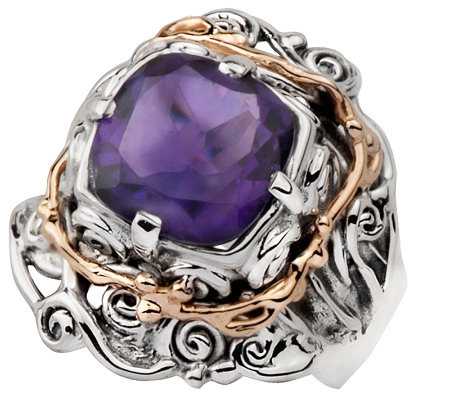 Hagit Gorali 3.15 ct Amethyst Ring, Sterling/14 K Gold