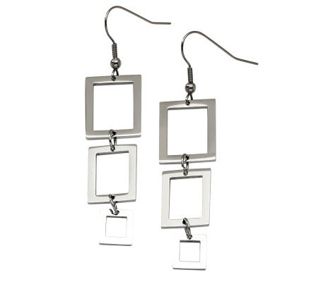 Stainless Steel Rectangle Dangle Earrings