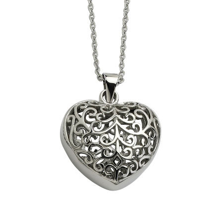 "Stainless Steel Filigree Heart Pendant with 21-1/2""L Chain"