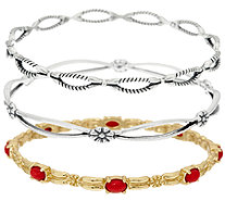 Sterling/Brass & Red Coral S/3 Bangles by American West - J319001