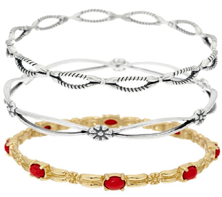 American West Set of 3 Sterling/Brass & Red Coral Bangles