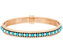 """As Is"" Bronzo Italia Turquoise & Polished Bead Inlay Bangle - J319601"