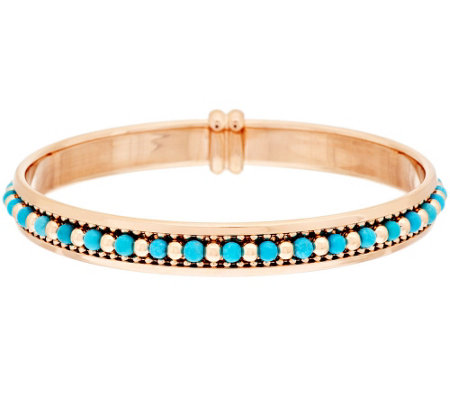 """As Is"" Bronzo Italia Turquoise & Polished Bead Inlay Bangle"