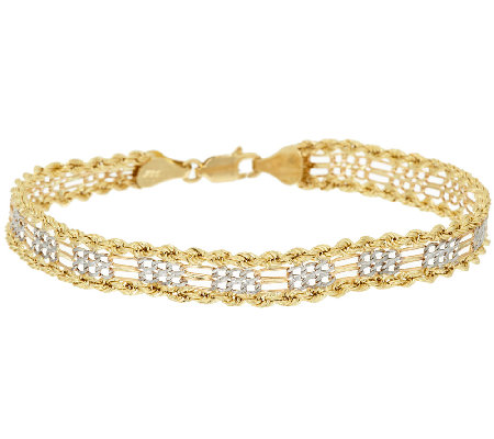 "14K Gold Two-Tone 6-3/4"" Rope & Figaro Bracelet, 3.1g"